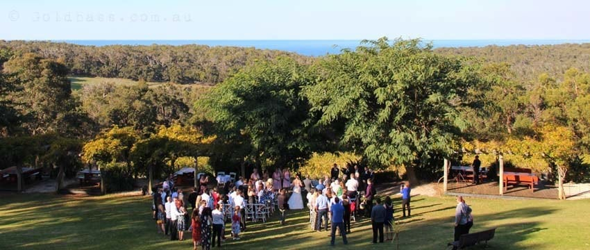 Wedding ceremony at Wise Winery overlooking Eagle Bay