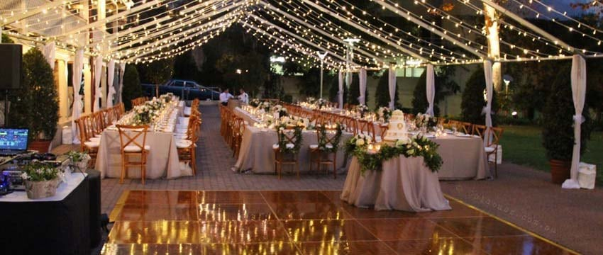 Perth wedding dj dance floor setup with fairy lights