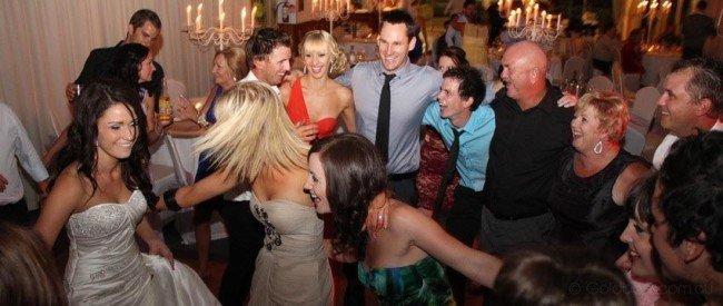 Bride, Groom and Guests Dancing