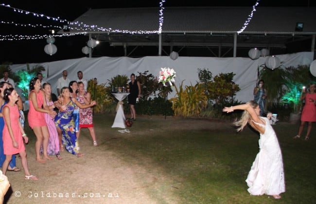 Bouquet Toss Broome Fishing-club-wedding