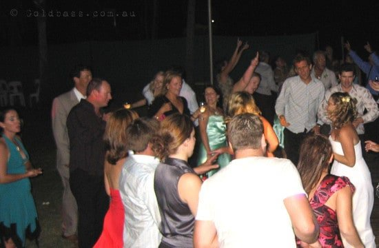 Wedding celebration & dancing with bride at the Mangrove Hotel in Broome