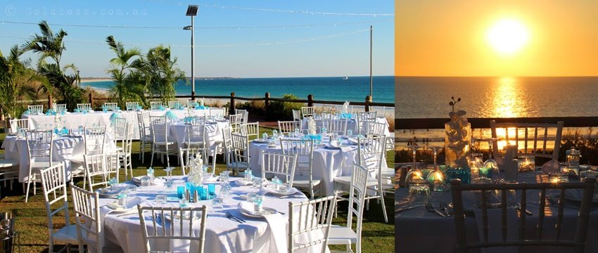 Wedding reception setup at the Broome Surf Life Saving Club on Cable Beach
