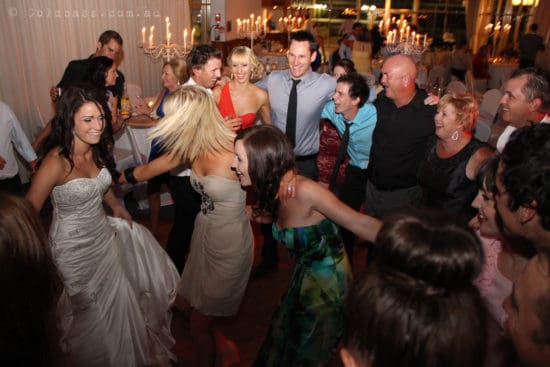 Dancing and good times on the dance floor at Amanda & Scott's wedding Burswood on Swan