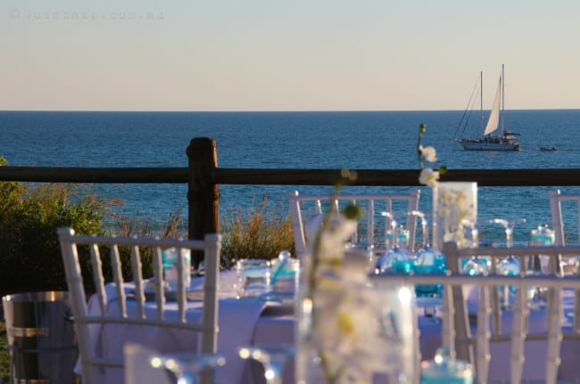 Cable Beach Surf Club Wedding Reception Chairs and View of Boat