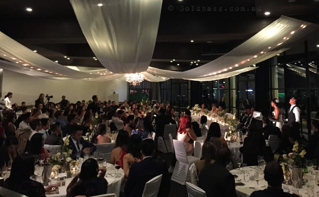 Wedding Reception guests sitting at tables at Frasers Kings Park