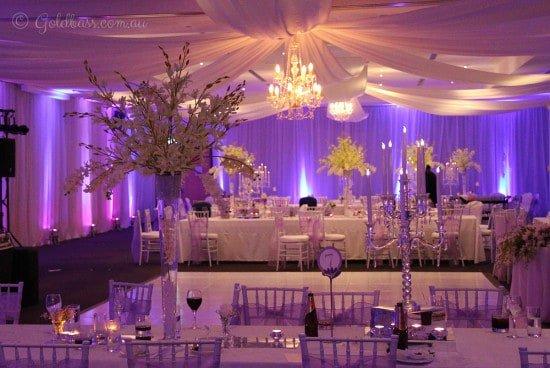 Purple and Pink Wedding Uplighting