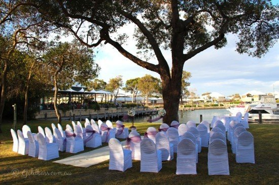 Wedding cereomny chairs setup at the Mandurah Quay Resort