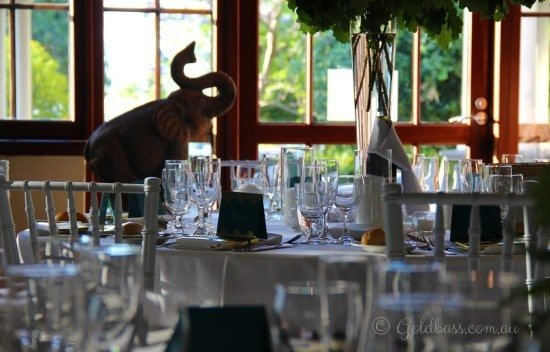 Wedding table setting at the Pagoda
