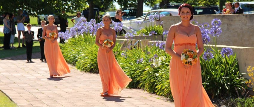 Perth wedding ceremony with bridesmaids walking down aisle