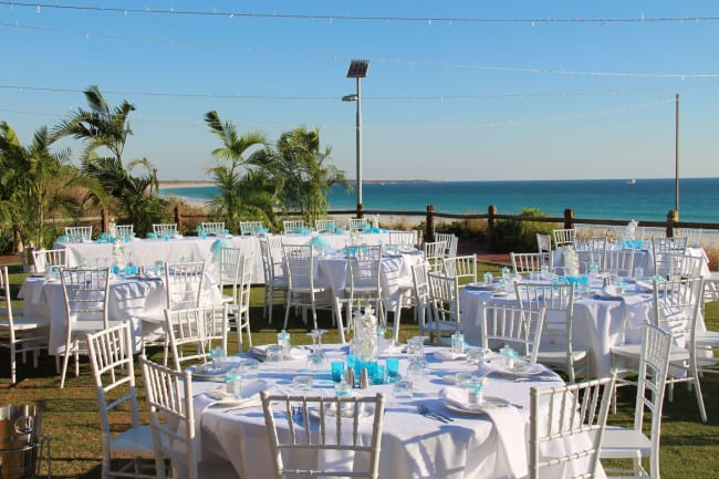 Wedding reception setup at the Broome Surf Life Saving Club