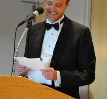 Wedding speeches man reading notes